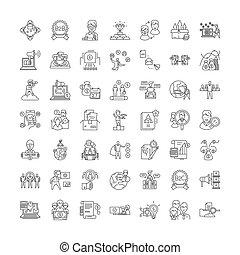 ベクトル, セット, サイン, アイコン, 販売, 管理, 線, シンボル, イラスト, 線である