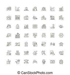 ベクトル, セット, サイン, 概念アイコン, 金融, 線, シンボル, イラスト, 線である