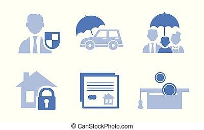ベクトル, セット, サービス, アイコン, お金, 家族, theme., 関係した, 保護, 6, モノクローム, 保険, 家, 自動車