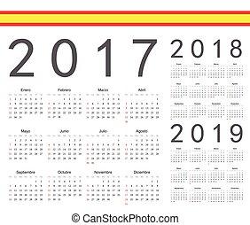 ベクトル, セット, スペイン語, カレンダー, 2017, 2019, 年, 2018