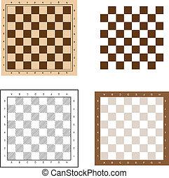 ベクトル, セット, チェス, イラスト, 板