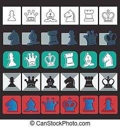 ベクトル, セット, チェス, クラシック, アイコン