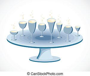 ベクトル, セット, テーブル。, ガラス