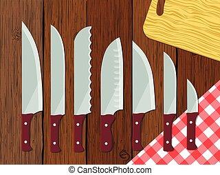 ベクトル, セット, ナイフ, テーブル, イラスト