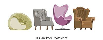 ベクトル, セット, ビジネス, 供給される, 肘掛け椅子, ∥あるいは∥, 隔離された, イラスト, 快適である, 容易椅子, アパート, デザイン, 背景, 内部, office-chair, 椅子, 席, pouf, 白, 家具