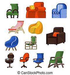 ベクトル, セット, ビジネス, 供給される, 肘掛け椅子, ∥あるいは∥, 隔離された, イラスト, 快適である, 容易椅子, アパート, デザイン, 背景, 内部, office-chair, 椅子, 席, 白, 家具