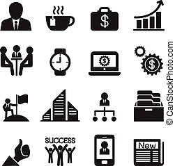 ベクトル, セット, ビジネス 実例, アイコン