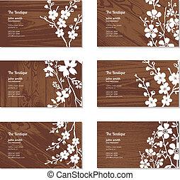ベクトル, セット, ビジネス, 木, 花, カード