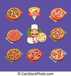 ベクトル, セット, ピザ, アイコン