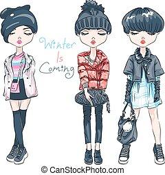 ベクトル, セット, ファッション, 女の子, 中に, 冬服