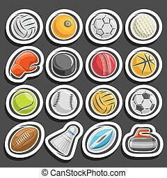 ベクトル, セット, ボール, スポーツ