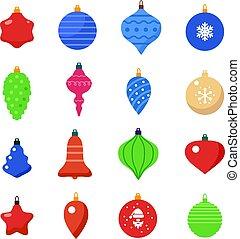 ベクトル, セット, ボール, 形, クリスマス