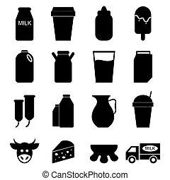 ベクトル, セット, ミルク, アイコン