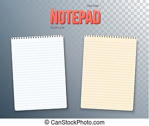 ベクトル, セット, メモ用紙, ノート型パソコンペーパー, テンプレート