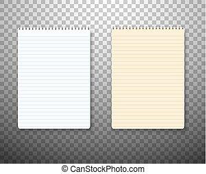 ベクトル, セット, メモ用紙, ノート, 現実的, ペーパー