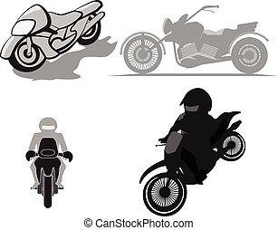 ベクトル, セット, モーターバイク, イラスト