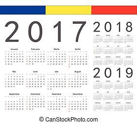 ベクトル, セット, ルーマニア語, カレンダー, 2017, 2019, 年, 2018