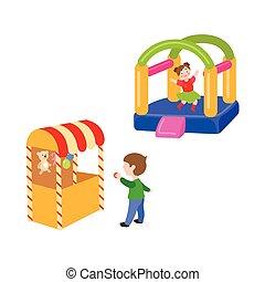 ベクトル, セット, 公園, 子供, 娯楽