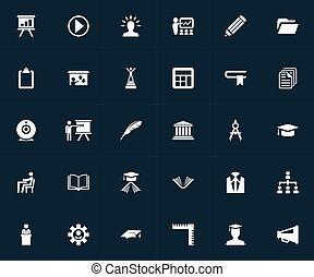 ベクトル, セット, 出版, セミナー, 単純である, 家, イラスト, drawing., synonyms, 他, 建築家, icons., チームのリーダー, 構造, 要素, 労働者