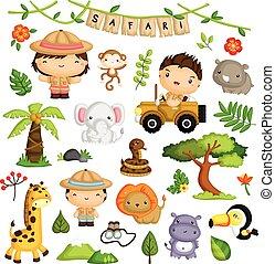 ベクトル, セット, 動物, サファリ, 子供