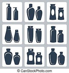 ベクトル, セット, 化粧品, 容器, アイコン
