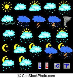 ベクトル, セット, 天候, アイコン, 予報