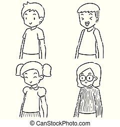 ベクトル, セット, 子供