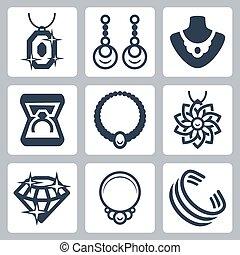 ベクトル, セット, 宝石類, 関係した, アイコン