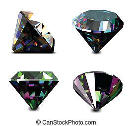 ベクトル, セット, 宝石類, gems.