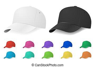 ベクトル, セット, 帽子, 野球