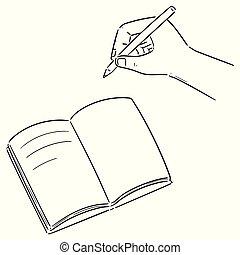 ベクトル, セット, 手, ノート, 執筆