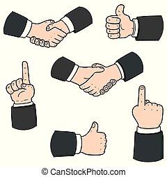 ベクトル, セット, 手