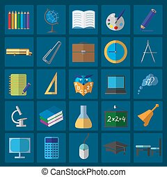 ベクトル, セット, 教育, icons.