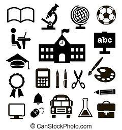 ベクトル, セット, 教育, illustration., icons.