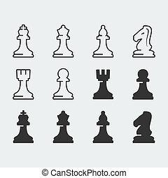 ベクトル, セット, 数字, チェス, アイコン