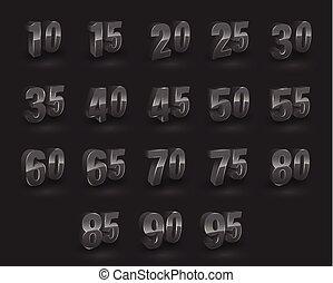 ベクトル, セット, 数, 3d