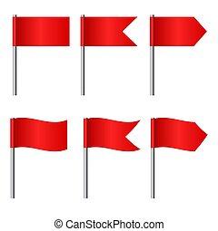 ベクトル, セット, 旗, イラスト