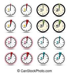 ベクトル, セット, 時計, アイコン