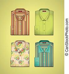 ベクトル, セット, 有色人種, シャツ