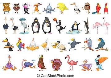 ベクトル, セット, 様々, 鳥, illustrations.
