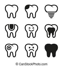 ベクトル, セット, 歯, アイコン