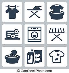 ベクトル, セット, 洗濯物, アイコン