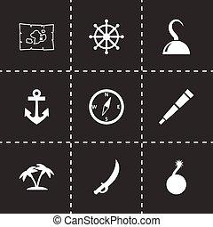 ベクトル, セット, 海賊, アイコン