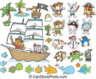 ベクトル, セット, 海賊, 動物