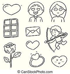 ベクトル, セット, 漫画, バレンタイン