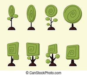 ベクトル, セット, 漫画, 木
