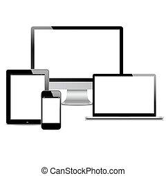 ベクトル, セット, 現代, 装置, デジタル