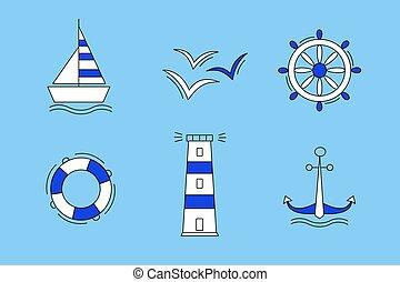 ベクトル, セット, 白, かもめ, アイコン, 車輪, 青, 錨, lifeline., color., 海, 船, 灯台