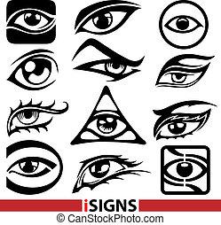 ベクトル, セット, 目, サイン, アイコン