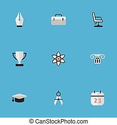 ベクトル, セット, 知識, 大学, コラム, 仕切り, nuclear., イラスト, 帽子, 単純である, synonyms, 学者, icons., 測定, 他, 要素, ゴブレット